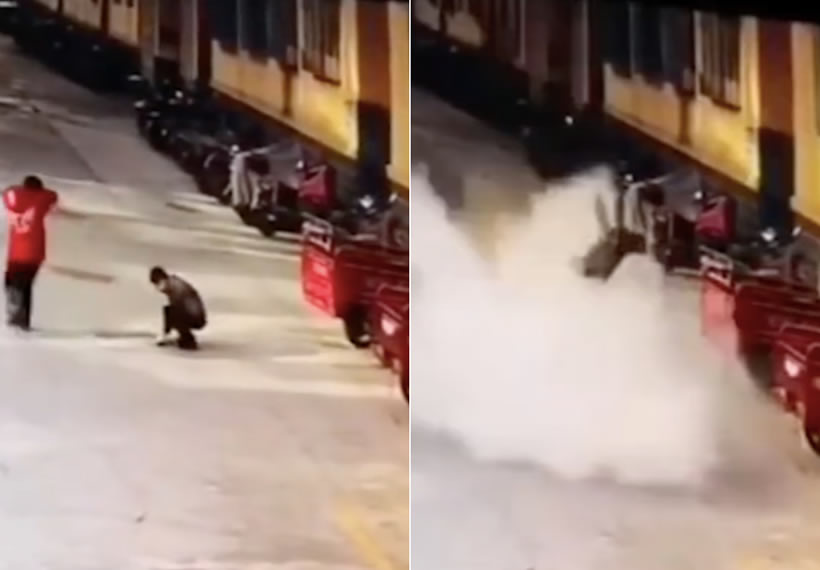 Explosion sends Chinese boy flying after he throws firecracker down manhole